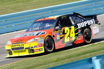 WATKINS GLEN, NY - AUGUST 06:  Jeff Gordon, drives the #24 DuPont Chevrolet, during practice for the NASCAR Heluva Good! Sour Cream Dips at The Glen on August 6, 2010 in Watkins Glen, New York.  (Photo by John Harrelson/Getty Images for NASCAR)