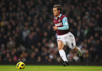 LONDON, ENGLAND - JANUARY 01: Scott Parker of West Ham United in action during the Barclays Premier League match between West Ham United and Wolverhampton Wanderers at the Boleyn Ground on January 1, 2011 in London, England.  (Photo by Dean Mouhtaropoulos