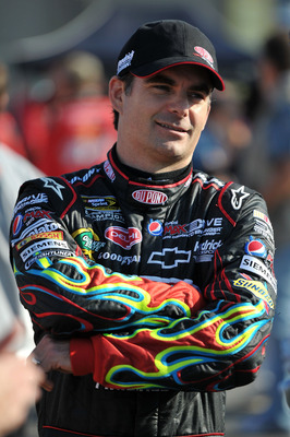 CHARLOTTE, NC - MAY 20:  Jeff Gordon, driver of the #24 DuPont Chevrolet, stands on the grid during qualifying for the NASCAR Sprint All-Star Race at Charlotte Motor Speedway on May 20, 2011 in Charlotte, North Carolina.  (Photo by Drew Hallowell/Getty Im