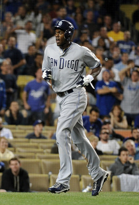 LOS ANGELES, CA - APRIL 30:  Cameron Maybin #24 of the San Diego Padres reacts after his run scored from a play at the plate against the Los Angeles Dodgers for a 1-1 TIE during the fifth inning at Dodger Stadium on April 30, 2011 in Los Angeles, Californ