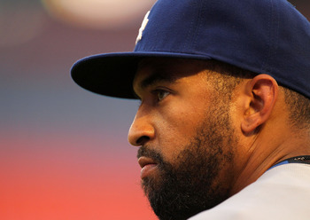 MIAMI GARDENS, FL - APRIL 25:  Matt Kemp #27 of the Los Angeles Dodgers looks on  during a game against the Florida Marlins at Sun Life Stadium on April 25, 2011 in Miami Gardens, Florida.  (Photo by Mike Ehrmann/Getty Images)