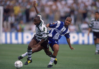 21 May 2000:  Kwame Ayew of Sporting Lisbon beats Chainho of FC Porto during the Portuguese Cup Final at the Estadio Nacional,  Portugal. The game was drawn 1-1. \ Photograph: Nuno Correia \ Mandatory Credit: Allsport UK /Allsport
