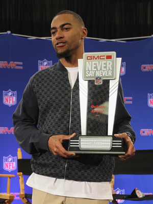 DALLAS, TX - FEBRUARY 02:  DeSean Jackson of the Philadelphia Eagles, poses at the Super Bowl XLV media center after accepting the '2010 GMC Never Say Never Moment of the Year' award on February 2, 2011 in Dallas, Texas.  (Photo by Ronald Martinez/Getty I