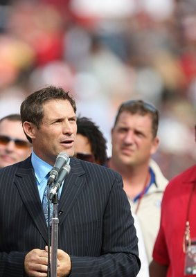 SAN FRANCISCO - OCTOBER 5: Former San Francisco 49ers quarterback Steve Young speaks during a ceremony to retire his number at halftime of the New England Patriots and the San Francisco 49ers NFL game on October 5, 2008 at Candlestick Park in San Francisc