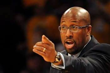 LOS ANGELES, CA - JANUARY 19:  Head Coach Mike Brown of the Cleveland Cavaliers shouts from the sidelines during the game against the Los Angeles Lakers at Staples Center on January 19, 2009 in Los Angeles, California.  The Lakers defeated the Cavaliers 1