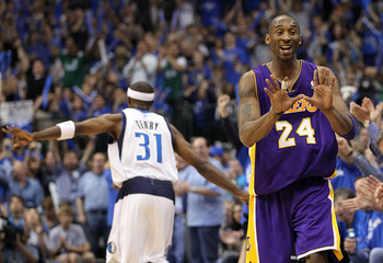 DALLAS, TX - MAY 08:  Guard Kobe Bryant #24 of the Los Angeles Lakers reacts after a three-point shot by Jason Terry #31 of the Dallas Mavericks in Game Four of the Western Conference Semifinals during the 2011 NBA Playoffs on May 8, 2011 at American Airl