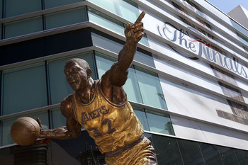 LOS ANGELES, CA - JUNE 06:  A statue of Los Angeles Lakers' legend Magic Johnson is shown outside of Staples Center before Game Two of the 2010 NBA Finals between the Boston Celtics and the Los Angeles Lakers on June 6, 2010 in Los Angeles, California. NO
