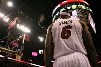 MIAMI, FL - MAY 24:  LeBron James #6 of the Miami Heat against the Chicago Bulls in Game Four of the Eastern Conference Finals during the 2011 NBA Playoffs on May 24, 2011 at American Airlines Arena in Miami, Florida. NOTE TO USER: User expressly acknowle
