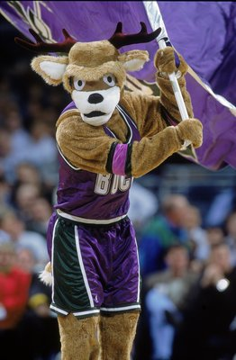 23 Jan 2001: The Milwaukee Bucks mascot waves the team flag during the game against the New York Knicks at the Bradley Center in Milwaukee, Wisconsin. The Bucks defeated the Knicks 105-91.    NOTE TO USER: It is expressly understood that the only rights A
