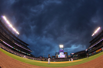 DENVER, CO - MAY 10:  Dramatic skies loom over the stadium as the sun sets as the New York Mets face the Colorado Rockies at Coors Field on May 10, 2011 in Denver, Colorado.  (Photo by Doug Pensinger/Getty Images)