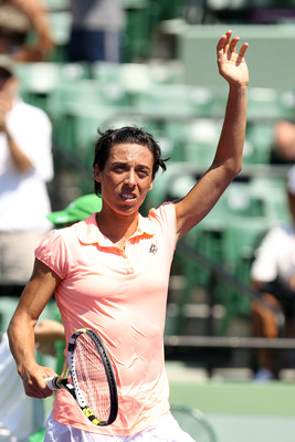 KEY BISCAYNE, FL - MARCH 27:  Francesca Schiavone of Italy celebrates after she won her match against Lourdes Dominguez Lino of Spain during the Sony Ericsson Open at Crandon Park Tennis Center on March 27, 2011 in Key Biscayne, Florida.  (Photo by Al Bel