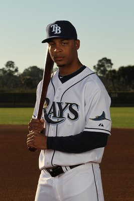 PORT CHARLOTTE, FL - FEBRUARY 26:  Desmond Jennings #27 of the Tampa Bay Rays poses for a photo during Spring Training Media Photo Day at Charlotte County Sports Park on February 26, 2010 in Port Charlotte, Florida.  (Photo by Nick Laham/Getty Images)