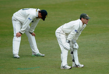 NOTTINGHAM, ENGLAND - MAY 05:  Chris Read of Nottinghamshire shows his frustrations as Yorkshire pile on the runs during the LV County Championship match between Nottinghamshire and Yorkshire at Trent Bridge on May 5, 2011 in Nottingham, England.  (Photo