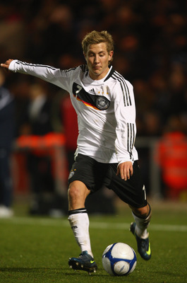 COLCHESTER, UNITED KINGDOM - NOVEMBER 18:  Lewis Holtby of Germany in action of England during the match between England U19 and Germany U19 at the Weston Homes Community Stadium on November 18, 2008 in Colchester, England.  (Photo by Jamie McDonald/Getty