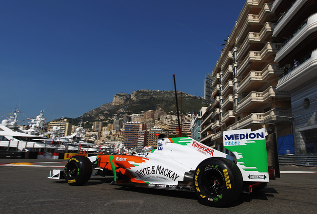 MONTE CARLO, MONACO - MAY 26:  Adrian Sutil of Germany and Force India drives during practice for the Monaco Formula One Grand Prix at the Monte Carlo Circuit on May 26, 2011 in Monte Carlo, Monaco.  (Photo by Paul Gilham/Getty Images)