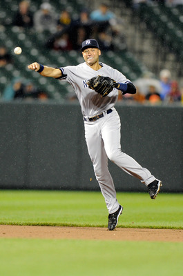 BALTIMORE, MD - MAY 19:  Derek Jeter #2 of the New York Yankees throws the ball to first base during the game against the Baltimore Orioles at Oriole Park at Camden Yards on May 19, 2011 in Baltimore, Maryland. Jeter was given an error on the throw. (Phot