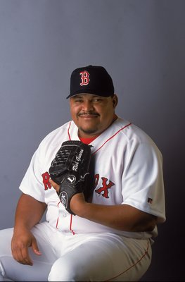 25 Feb 2001:  Rich Garces #34 of the Boston Red Sox poses for a studio portrait during Spring Training at the City of Palms Park in Fort Myers, FloridaMandatory Credit: Rick Stewart  /Allsport