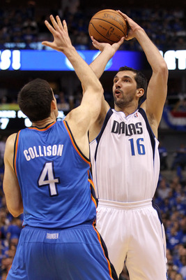 DALLAS, TX - MAY 19:  Peja Stojakovic #16 of the Dallas Mavericks shoots the ball over Nick Collison #4 of the Oklahoma City Thunder in Game Two of the Western Conference Finals during the 2011 NBA Playoffs at American Airlines Center on May 19, 2011 in D