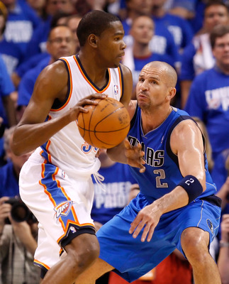 OKLAHOMA CITY, OK - MAY 21:  Kevin Durant #35 of the Oklahoma City Thunder moves the ball against Jason Kidd #2 of the Dallas Mavericks in Game Three of the Western Conference Finals during the 2011 NBA Playoffs at Oklahoma City Arena on May 21, 2011 in O