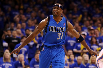 OKLAHOMA CITY, OK - MAY 23:  Jason Terry #31 of the Dallas Mavericks reacts after making a three-pointer in the second half against the Oklahoma City Thunder in Game Four of the Western Conference Finals during the 2011 NBA Playoffs at Oklahoma City Arena
