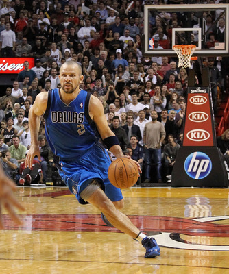 MIAMI, FL - DECEMBER 20:  Jason Kidd #2 of the Dallas Mavericks dribbles the ball during a game against the Miami Heat at American Airlines Arena on December 20, 2010 in Miami, Florida. NOTE TO USER: User expressly acknowledges and agrees that, by downloa