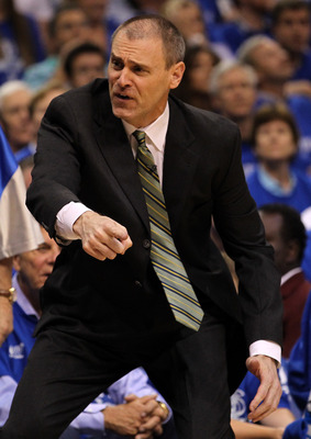 DALLAS, TX - MAY 25:  Head coach Rick Carlisle of the Dallas Mavericks reacts in the first half while taking on the Oklahoma City Thunder in Game Five of the Western Conference Finals during the 2011 NBA Playoffs at American Airlines Center on May 25, 201