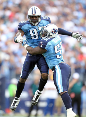 NASHVILLE, TN - OCTOBER 24: Will Witherspoon #92 and Stephen Tulloch #55 of the Tennessee Titans celebrates in the fourth quarter during the NFL game against the Philadelphia Eagles at LP Field on October 24, 2010 in Nashville, Tennessee. The Titans won 3