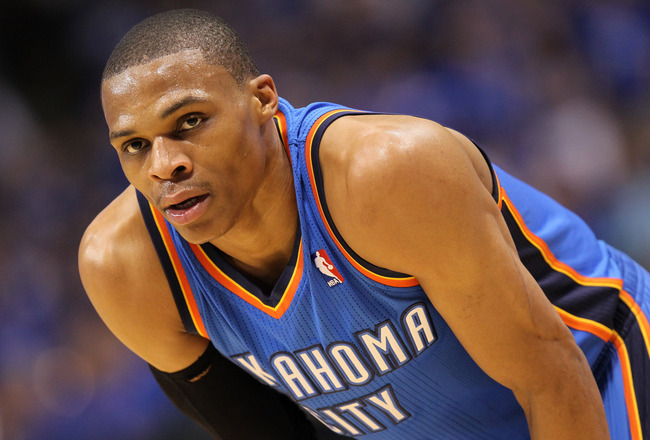 DALLAS, TX - MAY 25:  Russell Westbrook #0 of the Oklahoma City Thunder looks on in the first half while taking on the Dallas Mavericks in Game Five of the Western Conference Finals during the 2011 NBA Playoffs at American Airlines Center on May 25, 2011