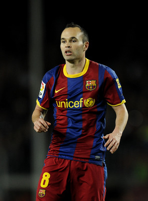 BARCELONA, SPAIN - APRIL 23:  Andres Iniesta of FC Barcelona looks on during the La Liga match between Barcelona and CA Osasuna at Camp Nou Stadium on April 23, 2011 in Barcelona, Spain. Barcelona won 2-0.  (Photo by David Ramos/Getty Images)