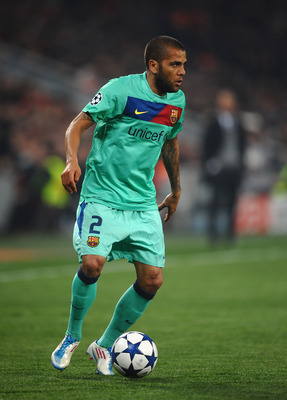 DONETSK, UKRAINE - APRIL 12: Daniel Alves of Barcelona in action during the UEFA Champions League Quarter Final 2nd Leg match between Shakhtar Donetsk and Barcelona at the Donbass Arena on April 12, 2011 in Donetsk, Ukraine.  (Photo by Laurence Griffiths/