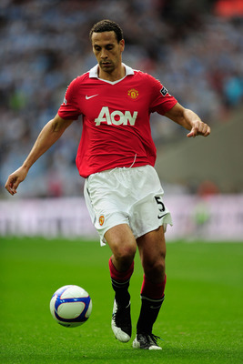 LONDON, ENGLAND - APRIL 16:  Rio Ferdinand of Manchester United in action during the FA Cup sponsored by E.ON semi final match between Manchester City and Manchester United at Wembley Stadium on April 16, 2011 in London, England.  (Photo by Jamie McDonald