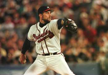 24 Oct 1996:  Pitcher John Smoltz of the Atlanta Braves delivers a pitch during the Braves 1-0 loss to the the New York Yankees in game five of the World Series at Fulton County Stadium in Atlanta, Georgia. Mandatory Credit: Stephen Dunn/Allsport