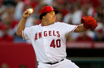 ANAHEIM, CA - OCTOBER 10:  Bartolo Colon #40 of the Los Angeles Angels of Anaheim pitches to the New York Yankees in the first inning of Game Five of the American League Division Series on October 10, 2005 at Angel Stadium in Anaheim, California.  The Ang