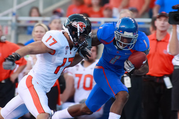 BOISE, ID - SEPTEMBER 25:  Wide receiver Titus Young #1 of the Boise State Broncos runs the ball against cornerback Brandon Hardin #17 of the Oregon State Beavers at Bronco Stadium on September 25, 2010 in Boise, Idaho.  (Photo by Otto Kitsinger III/Getty