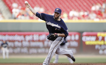 CINCINNATI, OH - JUNE 1: Shaun Marcum #18 of the Milwaukee Brewers pitches against the Cincinnati Reds at Great American Ball Park on June 1, 2011 in Cincinnati, Ohio. (Photo by Joe Robbins/Getty Images)