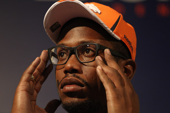 ENGLEWOOD, CO - APRIL 29:  Von Miller of the Denver Broncos adjusts his glasses while speaking to the media at Dove Valley on April 29, 2011 in Englewood, Colorado. Miller, a projected outside linebacker in head coach John Fox's new 4-3 scheme, was select
