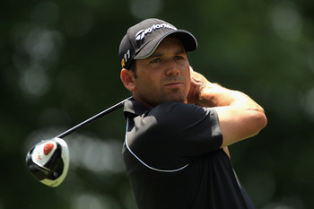 CHARLOTTE, NC - MAY 07:  Sergio Garcia hits his tee shot on the third hole during the third round of the Wells Fargo Championship at the Quail Hollow Club on May 7, 2011 in Charlotte, North Carolina.  (Photo by Streeter Lecka/Getty Images)