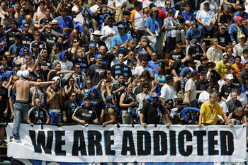 SANTA CLARA, CA - AUGUST 21:  San Jose Earthquakes fans cheer against the Los Angeles Galaxy on August 21, 2010 at Buck Shaw Stadium in Santa Clara, California.  The Earthquakes won 1-0. (Photo by Brian Bahr/Getty Images)