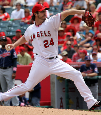 ANAHEIM, CA - MAY 08:  Dan Haren #24 of the Los Angeles Angels of Anaheim throws a pitch against the Cleveland Indians on May 8, 2011 at Angel Stadium in Anaheim, California.  (Photo by Stephen Dunn/Getty Images)
