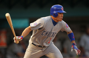 MIAMI GARDENS, FL - MAY 18: Kosuke Fukudome #1 of the Chicago Cubs hits during a game against the Florida Marlins at Sun Life Stadium on May 18, 2011 in Miami Gardens, Florida.  (Photo by Mike Ehrmann/Getty Images)