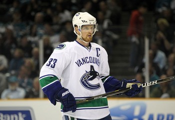 SAN JOSE, CA - MAY 22:  Henrik Sedin #33 of the Vancouver Canucks looks on during Game Four of the Western Conference Finals against the San Jose Sharks during the 2011 Stanley Cup Playoffs at HP Pavilion on May 22, 2011 in San Jose, California. The Canuc