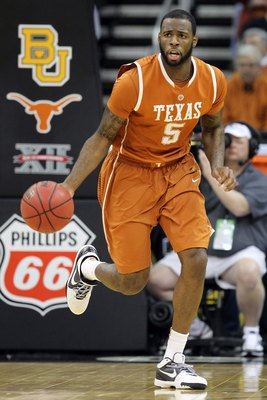 KANSAS CITY, MO - MARCH 11:  Damion James #5 of the Texas Longhorns moves the ball while taking on the Baylor Bears during the quarterfinals of the 2010 Phillips 66 Big 12 Men's Basketball Tournament at the Sprint Center on March 11, 2010 in Kansas City,