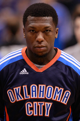 DALLAS, TX - MAY 19:   Nate Robinson #3 of the Oklahoma City Thunder looks on during the national anthem before Game Two of the Western Conference Finals during the 2011 NBA Playoffs agains the Dallas Mavericks at American Airlines Center on May 19, 2011