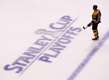 BOSTON, MA - MAY 27:  Zdeno Chara #33 of the Boston Bruins skates during warm ups prior to Game Seven of the Eastern Conference Finals against the Tampa Bay Lightning during the 2011 NHL Stanley Cup Playoffs at TD Garden on May 27, 2011 in Boston, Massach