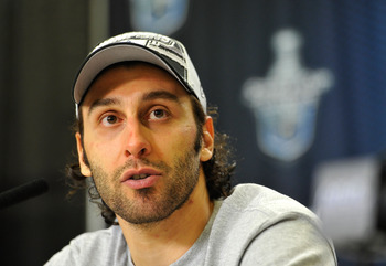 VANCOUVER, BC - MAY 24:  Goaltender Roberto Luongo of the Vancouver Canucks speaks during the post game press conference after the Vancouver Canucks won Game Five of the Western Conference Finals 3-2 in the second overtime to win the series 4-1 against th