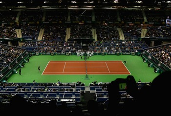 ROTTERDAM, NETHERLANDS - FEBRUARY 23:  A general view of the match between Robin Soderling of Sweden and Gilles Simon of France during day six of the ATP 35th ABN AMRO World Tennis Tournament at the Ahoy Centre Rotterdam on February 23, 2008 in Rotterdam,