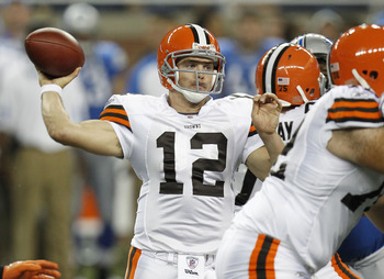 DETROIT - AUGUST 28: Colt McCoy #12 of the Cleveland Browns throws a fourth quarter pass while playing the Detroit Lions in a preseason game on August 28, 2010 at Ford Field in Detroit, Michigan.  (Photo by Gregory Shamus/Getty Images)