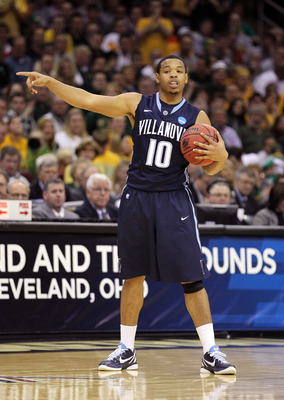 CLEVELAND, OH - MARCH 18: Corey Fisher #10 of the Villanova Wildcats handles the ball against the George Mason Patriots during the second round of the 2011 NCAA men's basketball tournament at Quicken Loans Arena on March 18, 2011 in Cleveland, Ohio.  (Pho
