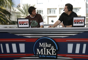 Mike Greenberg and Mike Golic during their ESPN Radio show, Mike & Mike in the Morning, broadcast on the ESPN set in Miami, Florida on February 1, 2007. (Photo by Allen Kee/Getty Images)