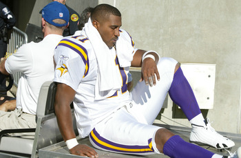 CHARLOTTE, NC - OCTOBER 30:  Quarterback Daunte Culpepper #11 of the Minnesota Vikings is carted off the field after being injured against the Carolina Panthers at Bank of America Stadium on October 30, 2005 in Charlotte, North Carolina. The Panthers defe